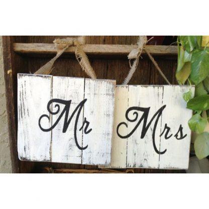 insegne in legno mr mrs bianco shabby