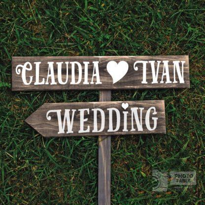 insegna in legno nomi sposi personalizzabile
