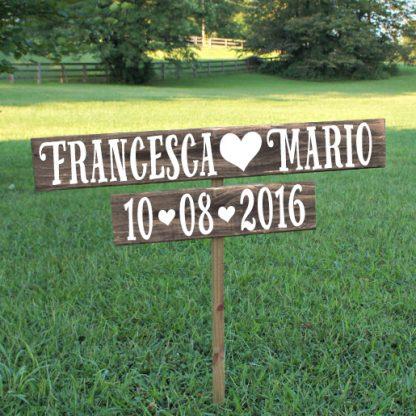 insegna in legno nomi sposi e data wedding - legno antico