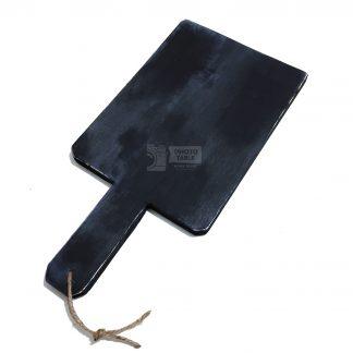 Tagliere artigianale blu scuro e nero con effetto shabby