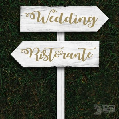 2 insegne wedding legno freccia base bianca scritte dorate