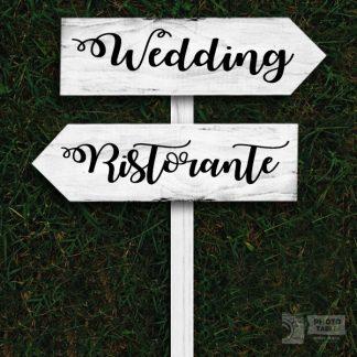 2 insegne wedding legno freccia base bianca scritte nere