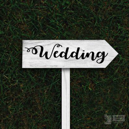 insegna wedding legno freccia-base-bianca scritta nera