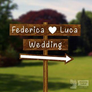 2 insegne wedding noce personalizzate e freccia - matrimonio country